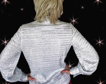 Silver Shirt Women - Vintage Metallic Silver Blouse - 60s Long Sleeve Shirt - Vintage Lurex Blouse - Womens Vintage Metallic Shirt - Mod