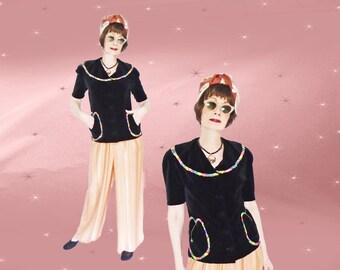 1940s Vintage Black Velvet Jacket - Womens Black Velveteen Tunic Top - Curvy Long Velvet Jacket with Short Sleeves - Big Collar - Pockets