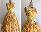1950s Yellow Roses Party Dress 50s Cotton Sundress