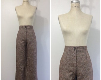 SALE 1970s Tweed High Waisted Pants 70s Wide Leg
