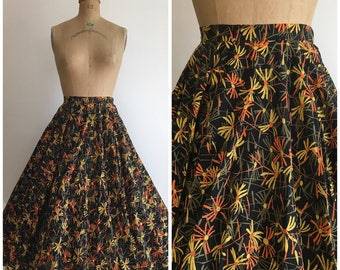 1950s Daisy Circle Cotton Skirt 50s Floral Daisies