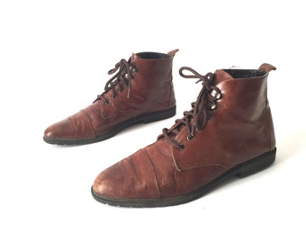Size 9 women's grunge CHUKKA 80s 90s Brown LEATHER ankle boot shoes