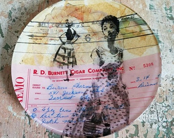 Mixed Media Ephemera Art of Women Collage Created in Reverse on Glass Plate