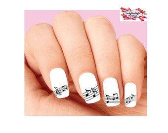 Music note nail art etsy waterslide nail decals set of 20 music notes assorted prinsesfo Images