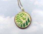 ON SALE Hand Painted Necklace. Paint and Embroidery Jewelry. Hand Embroidered Necklace. Stitched Pendant w Leaves. Leaf and Flower Necklace