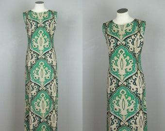 1960s Maxi Dress. 60s Maxi Dress. 60s Cotton Dress. Cotton Maxi Dress. 60s Paisley Dress. 60s Psych Dress. 60s Green Dress. 60s Dress Small