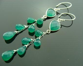 Bezel Set Green Onyx 925 Sterling Silver Cascade Earrings