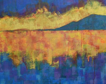 Abstract Sunset Painting...Sunset Art...Abstract Landscape Painting...Large Canvas Art