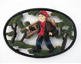 Lovely Vintage French  Cast Iron Table Mat,Trivet, country man, French country kitchen table