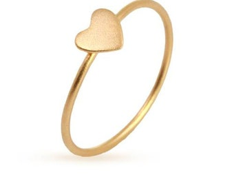Tiny Heart Ring 24Kt Gold Plated Sterling Silver Size 7 - 1 pc Wholesale Price (11185)/1
