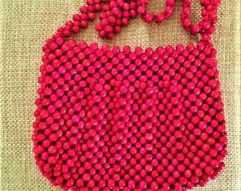 Vintage Magid Purse Wood Beads