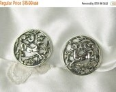 On Sale Vintage Earrings Sarah Coventry Woodland Flight Running Deer Buck Silver Tone Clip On Signed 1958