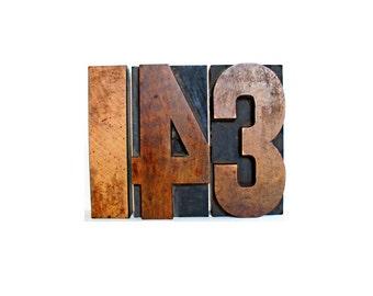 143 wooden letter blocks . i love you .  wood number . 1 4 3 wooden numbers . letterpress blocks . printers block . lot#4