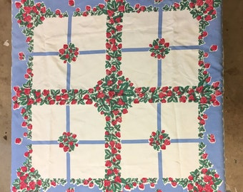 Strawberry fields table cloth  white background blue border vintage card table size