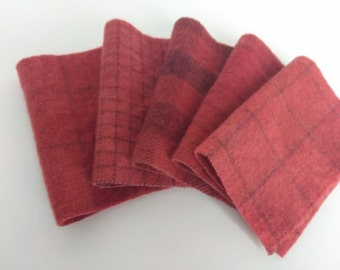 VINTAGE BERRY Hand Dyed felted wool fabric bundle - 8x6 -for Wool Applique, Penny Rugs, Sewing & Quilting  #868