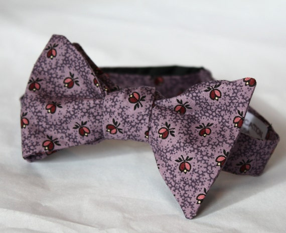 Plum Purple with Tiny Flowers Bow tie - clip on, pre-tied wtih strap or self tying - ring bearer outfit or wedding attire