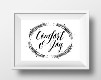 Christmas Digital Print - Comfort and Joy - 5x7 inches