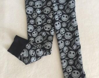 Skull leggings Jack Skellington Black and White Baby Toddler Kids Girls Boys unisex stretch pants 0 3 6 9 12 18 24 months 2T 3T 4T 5T 6/7