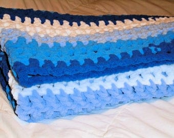 Bernat Baby Blanket, Baby Blue Blanket,Crochet Baby Blanket, Photo Prop Blanket, Plush Baby Blanket, Blue and White Baby Blanket, Soft, Cozy