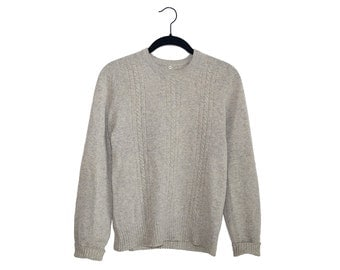 Vintage Cashmere Light Oatmeal Brown Crewneck Sweater, Made in USA