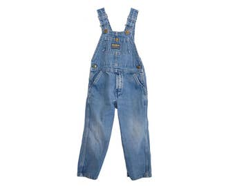 Vintage Osh Kosh B'Gosh Vestback Blue Soft Denim Toddler Kid's Overalls, Made in USA