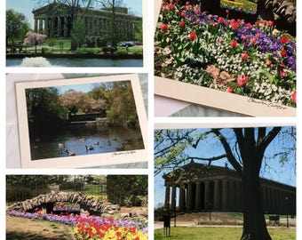 Set of 5 Note Cards Featuring Scenes from Nashville's Centennial Park / Blank Nashville Greeting Cards / The Parthenon / Spring Flowers
