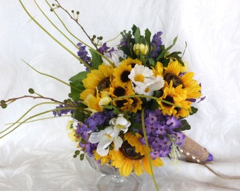 Reserved Sunflower wedding Country wedding Sunflower Bouquet set twine wrap shabby chic bouquet