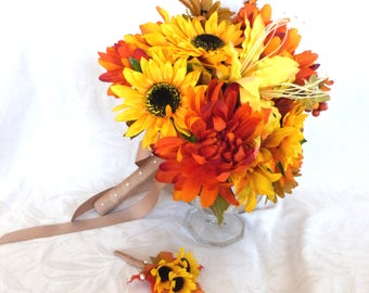 Fall colors Bridal bouquet silk flower wedding bouquet shades of orange and yellow