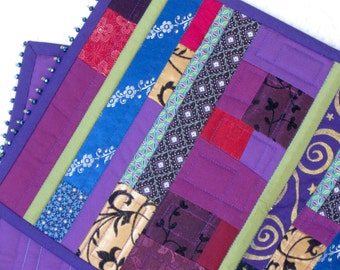 Gypsy patchwork table runner, crazy quilt table topper in purple and blue