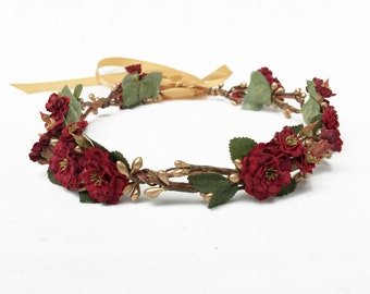 Burgundy Red Rose Flower Crown, Red and Gold, Floral Crown, Burgundy Flower Crown, Winter Wedding, Bridal Flower Crown, Flower Girl Crown