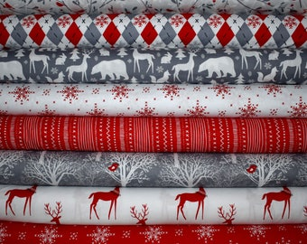 Woodland Winter Fat Quarter Bundle of 8 by Michael Miller