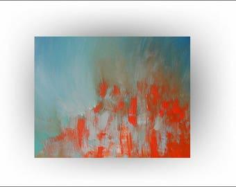 Modern Abstract Painting Palette Knife Minimalist Blue and Orange Art -Rhapsody in Orange -24 x 30 - Skye Taylor