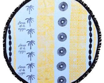 round beach towel, Rosario black lemon roundie  - artisan made - high quality