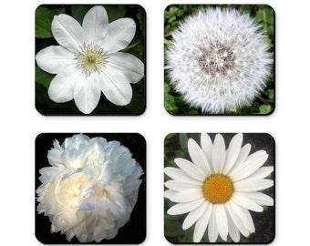 "Set Of 4, White Flower Coasters, Original Fine Art Photography, 4"" Heat & Water Resistant, Free Ship USA, Hostess Gift, Housewarming Gift,"