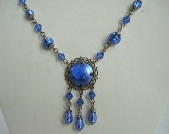 Art Deco Necklace Blue Foiled Glass Beads 1920's 1930's