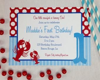 Crawfish Birthday Invitation, Crawfish Boil, Crawfish Birthday, Crawfish Printables, Crawfish Birthday Decorations, Lauren Haddox Designs