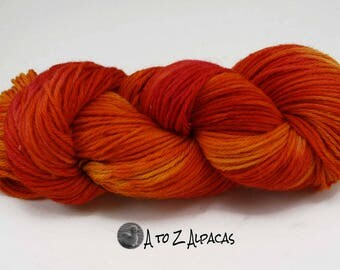 Hand Dyed Royal Baby Alpaca Yarn Bulky Weight Fiery Passion