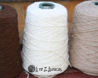 100% Alpaca Yarn - Bulky Weight - Natural White 514 yards - On a convenient cone