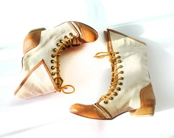 romance in white spectator boots with leather toe and heel caps . Vintage 1980's does Victorian . size 6 US 36 EUR 3.5 UK
