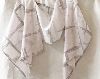 Blush and Gray Scarf, Hand Painted Scarf, Blush Scarf, Watercolor Scarf, Contemporary Scarf, Shibori Scarf, Woman's  Cotton Scarf, USA
