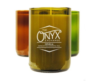 Ophelia - Peppermint & Rosemary Essential Oil Wine Bottle Soy Candle