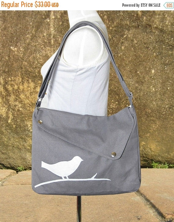 Halloween Sale 10% off Gray cotton canvas messenger bag / shoulder bag / bird messenger /diaper bag / cross body bag