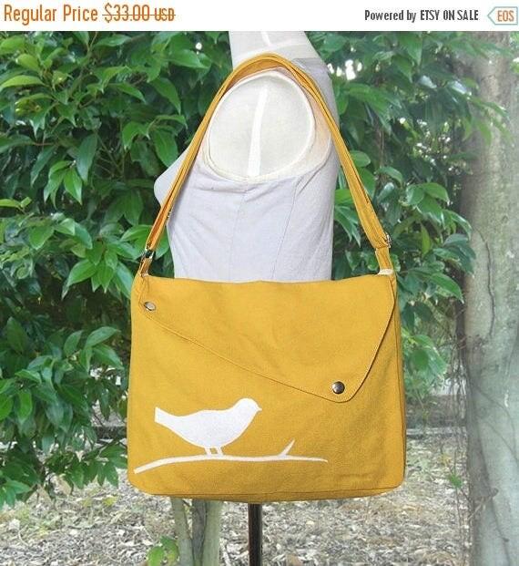 Mothers Day Sale 20% off Golden cotton canvas messenger bag / shoulder bag / bird messenger /diaper bag / cross body bag