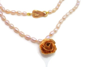 18k Gold Rose and Pearl Necklace - Hand Forged Rose Gold