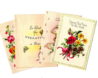 4 Small Vintage Get Well Cards - Vintage Mixed Media, Collage, Art Journal, Scrapbookng, Craft Supplies