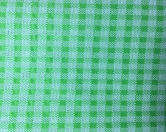 Vintage 60s 70s Upholstery Fabric Rare Lime Green Checkered Gingham Fabric Polyester