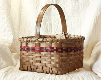 Country Jeremiah Basket w/ Solid Oak Handle red blue