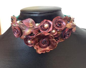 Polymer clay floral assemblage necklace