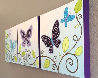 "Lavender and Turquoise Butterfly Nursery Art, set of of three 12x12"" Original Paintings, Made to Order"