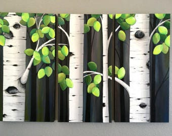 "Extra Large Aspen Tree Painting triptych-- 30x45"" hand painted acrylic on canvas, ready to ship"